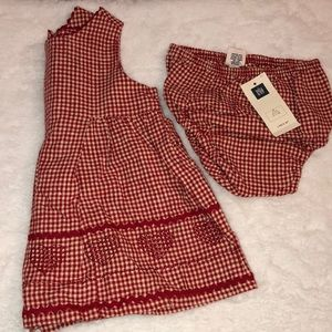 Vintage Baby GAP Red Gingham Cross Stitch Heart